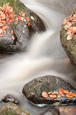 Vivid Fall Colors Photograph - Beautiful Waterfall Flowing Through Autumn Fall Vibrant Landscap by Matthew Gibson