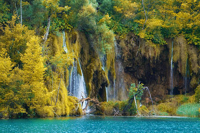 Waterfalls Photograph - Summer's Almost Gone - Nature Photography - Beautiful Waterfalls In Yellow by Modern Art Prints