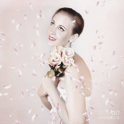 Pink Confetti Photograph - Beautiful Woman Holding Flowers At Vintage Wedding by Jorgo Photography - Wall Art Gallery