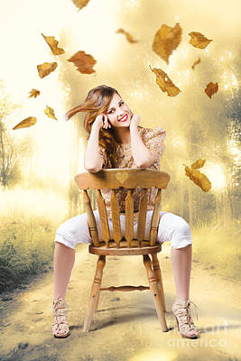 Beautiful Woman Sitting In Autumn Field Art Print