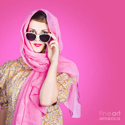 Beautiful Woman Wearing Pink Headscarf Fashion Art Print by Jorgo Photography - Wall Art Gallery