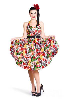 Beautiful Young Italian Woman In Retro Red Dress Art Print
