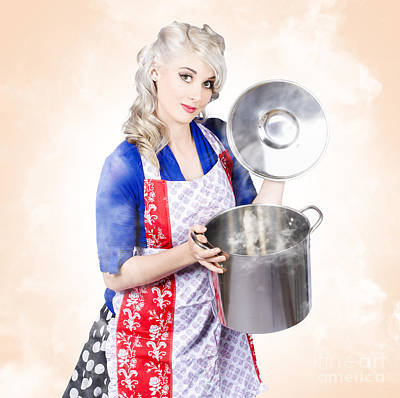 Beautiful Young Vintage Housewife Cooking Up Meal Art Print