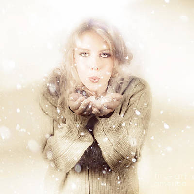 Photograph - Beautiful Young Woman Blowing Snow In Winter Style by Jorgo Photography - Wall Art Gallery