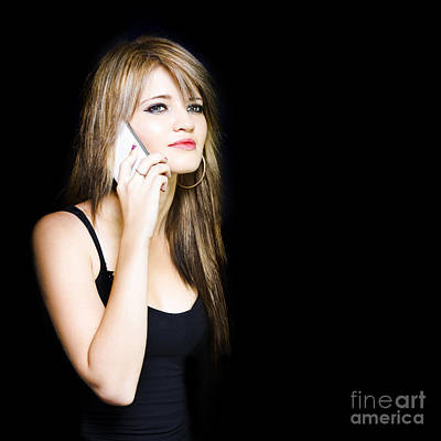 Beautiful Young Woman Communicating On Cell Phone Print by Jorgo Photography - Wall Art Gallery