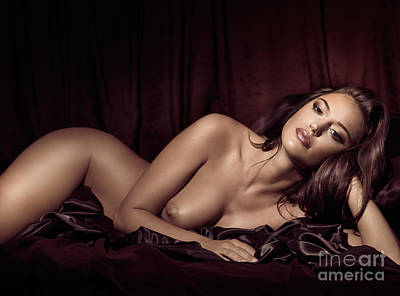 Beautiful Young Woman Lying Naked In Bed Art Print by Oleksiy Maksymenko