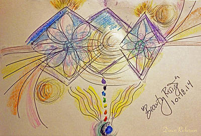 Chakra Rainbow Drawing - Beauty Rises From Within by Dawn Richerson