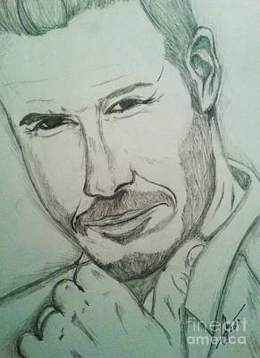 Athletes Drawings - Beckham by Collin A Clarke