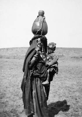 Water Jug Photograph - Bedouin Woman & Child by Granger