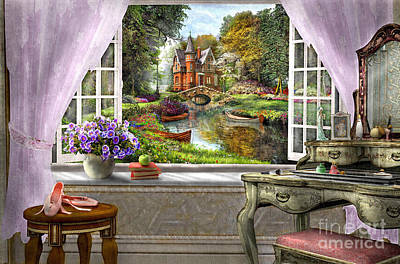Church Window Digital Art - Bedroom View by Dominic Davison