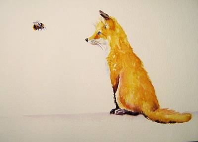 Fox Cubs Painting - Bee Fascinated by Debra Hall