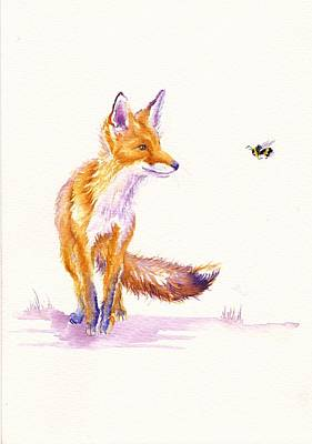 Red Fox Painting - Bee Foxed by Debra Hall