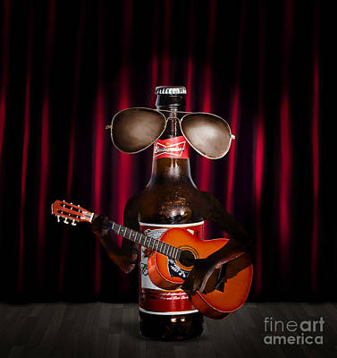 Beer Bottle Music Performer Playing Opening Act Art Print