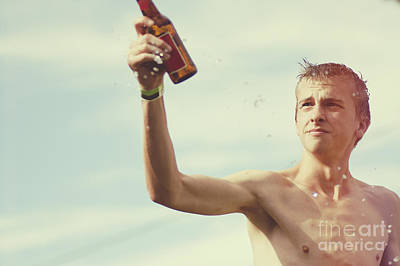 Beer Photos - Beer festival man throwing beer at Oktoberfest by Jorgo Photography - Wall Art Gallery