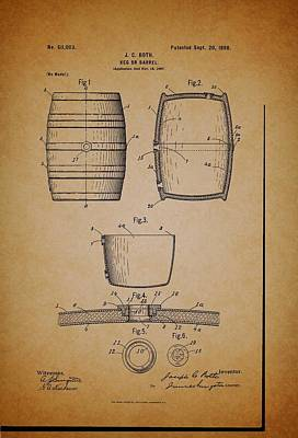 1890s Drawing - Beer Keg Patent - 1898 by Mountain Dreams