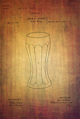 Ale Mixed Media - Beer Mug Patent  J.hobbs From 1872 by Eti Reid