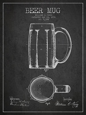 Bar Drawing - Beer Mug Patent From 1876 - Dark by Aged Pixel