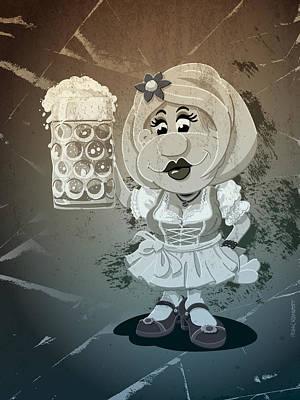 Beer Stein Dirndl Oktoberfest Cartoon Woman Grunge Monochrome Art Print by Frank Ramspott