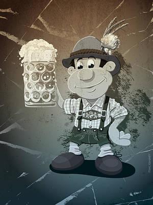 Beer Stein Lederhosen Oktoberfest Cartoon Man Grunge Monochrome Print by Frank Ramspott