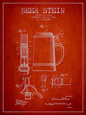 Stein Digital Art - Beer Stein Patent From 1914 - Red by Aged Pixel