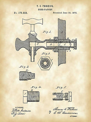 Faucet Digital Art - Beer Tap Patent 1876 - Vintage by Stephen Younts