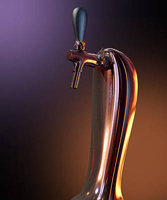 Macro Digital Art - Beer Tap Single Moody by Allan Swart