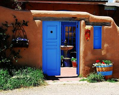 Taos Photograph - Behind A Blue Door 1 by Mel Steinhauer