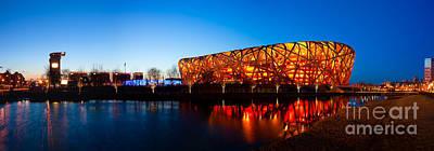 Photograph - Beijing National Stadium By Night  The Bird's Nest by Fototrav Print