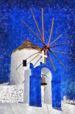 Painting - Belfry And Windmill by George Atsametakis