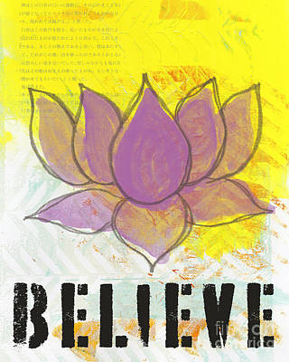 Stencil Painting - Believe by Linda Woods