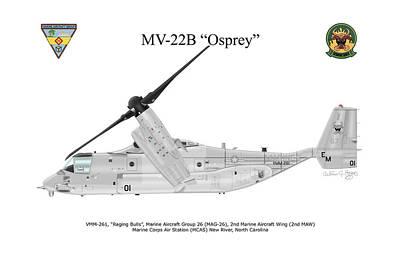 Digital Art - Bell Boeing Mv-22b Osprey by Arthur Eggers