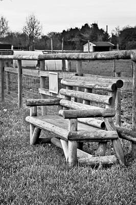 Black And White Ornamental Photograph - Bench by Tom Gowanlock