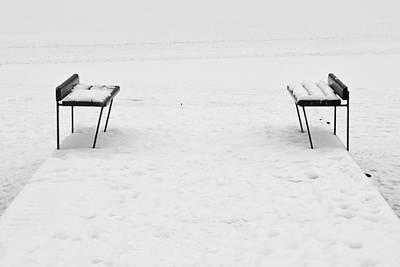 Jouko Lehto Royalty-Free and Rights-Managed Images - Benches on a dock by Jouko Lehto