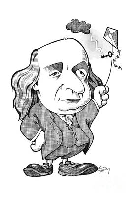 Benjamin Franklin Caricature Art Print by Science Photo Library