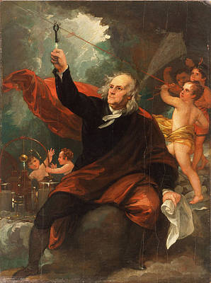 Electricity Painting - Benjamin Franklin Drawing Electricity From The Sky by Celestial Images