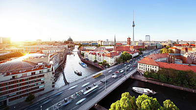 Berlin Cityscape Art Print by Ricowde