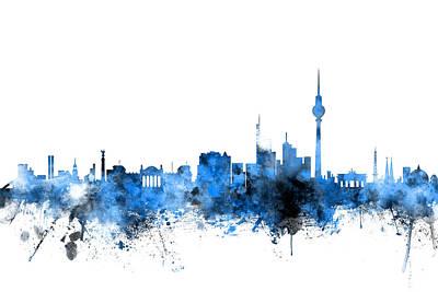 Berlin Germany Digital Art - Berlin Germany Skyline by Michael Tompsett