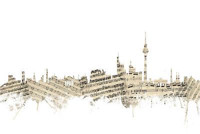 Berlin Germany Digital Art - Berlin Germany Skyline Sheet Music Cityscape by Michael Tompsett