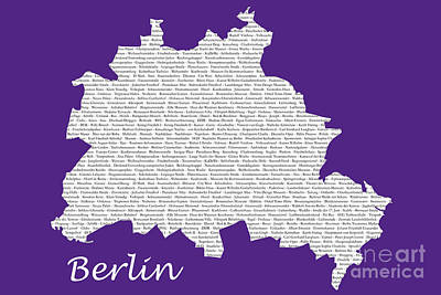 Digital Art - Berlin Map Typgraphy by Art Photography
