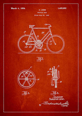 Transportation Digital Art - Bicycle Gear Patent Drawing from 1922 - Red by Aged Pixel