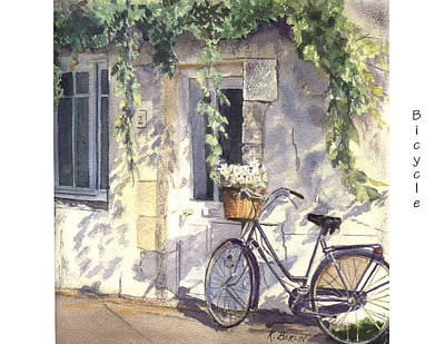 Streetscape Painting - Bicycle by Katherine  Berlin