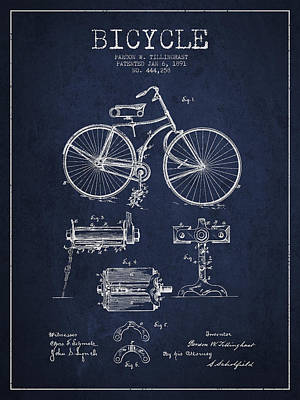 Bicycle Patent Drawing From 1891 Art Print