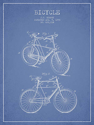 Transportation Digital Art - Bicycle Patent Drawing From 1898 by Aged Pixel