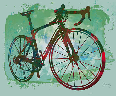 Abstract Pop Drawing - Bicycle Pop Stylized Art Poster by Kim Wang