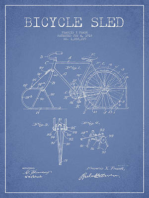 Transportation Digital Art - Bicycle Sled Patent Drawing from 1918 - Light Blue by Aged Pixel