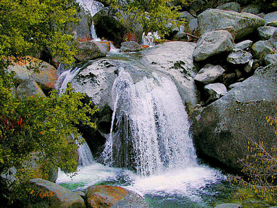 Digital Art - Big Boulder Falls - Yosemite National Park by Jim Pavelle