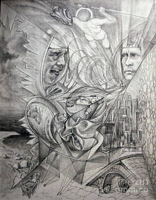 Glass Wall Drawing - Big Game Or Silence Is Gold by Mikhail Savchenko