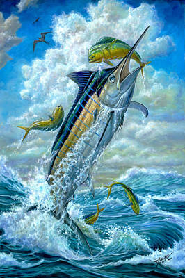Marine Painting - Big Jump Blue Marlin With Mahi Mahi by Terry  Fox