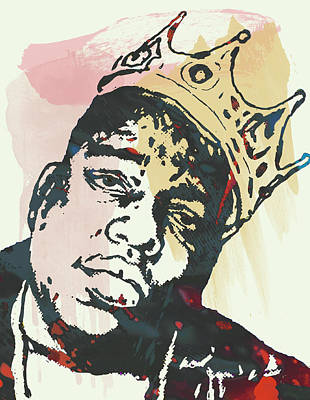 Artist Mixed Media - Biggie Smalls Modern Art Drawing Poster by Kim Wang
