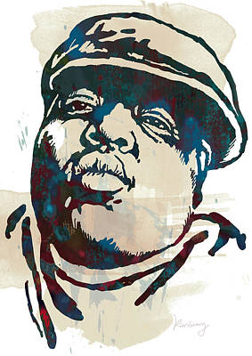Hop Drawing - Biggie Smalls Modern Etching Art Poster by Kim Wang